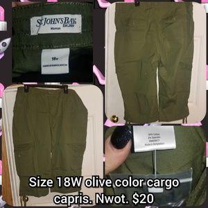 Size 18W olive color cargo capris.  Nwot